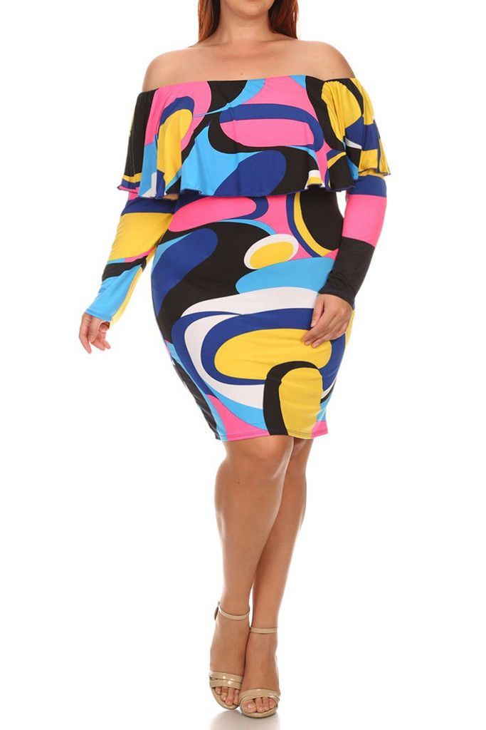 9ffe04afcab Plus Size Modern Abstract Off Shoulder Dress | Plus Size New ...