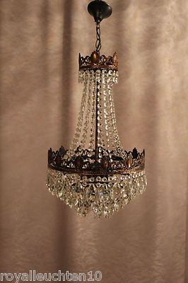 Toll Antik Kristall Kronleuchter Deckenlüster Lampe Jugendstil Messing Luxus  Empire
