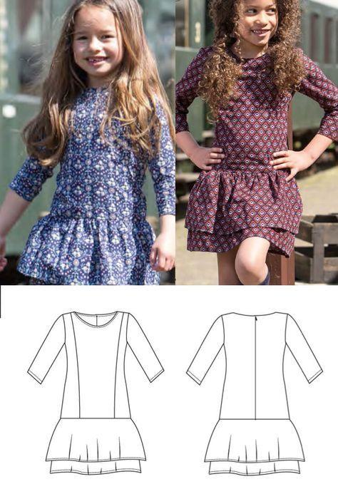 Mädchenkleid mit Volants - Freebook Gr. 74 - 164 | moldes de roupa ...