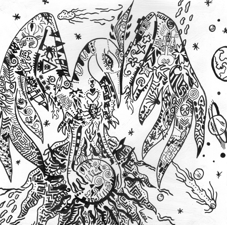 Florent LUCEA : Phénix Spatial : mythologie et théorie du Big Bang. Feutre sur papier blanc avec une couche d'apprêt.