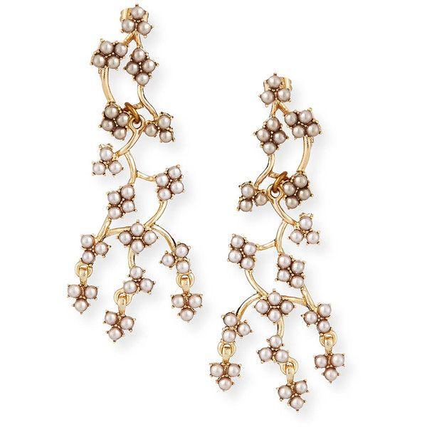Lulu Frost Jackie Web Dangling Earrings ($225) ❤ liked on Polyvore featuring jewelry, earrings, accessories, gold, pearl dangle earrings, long earrings, fake earrings, imitation pearl earrings and golden earring