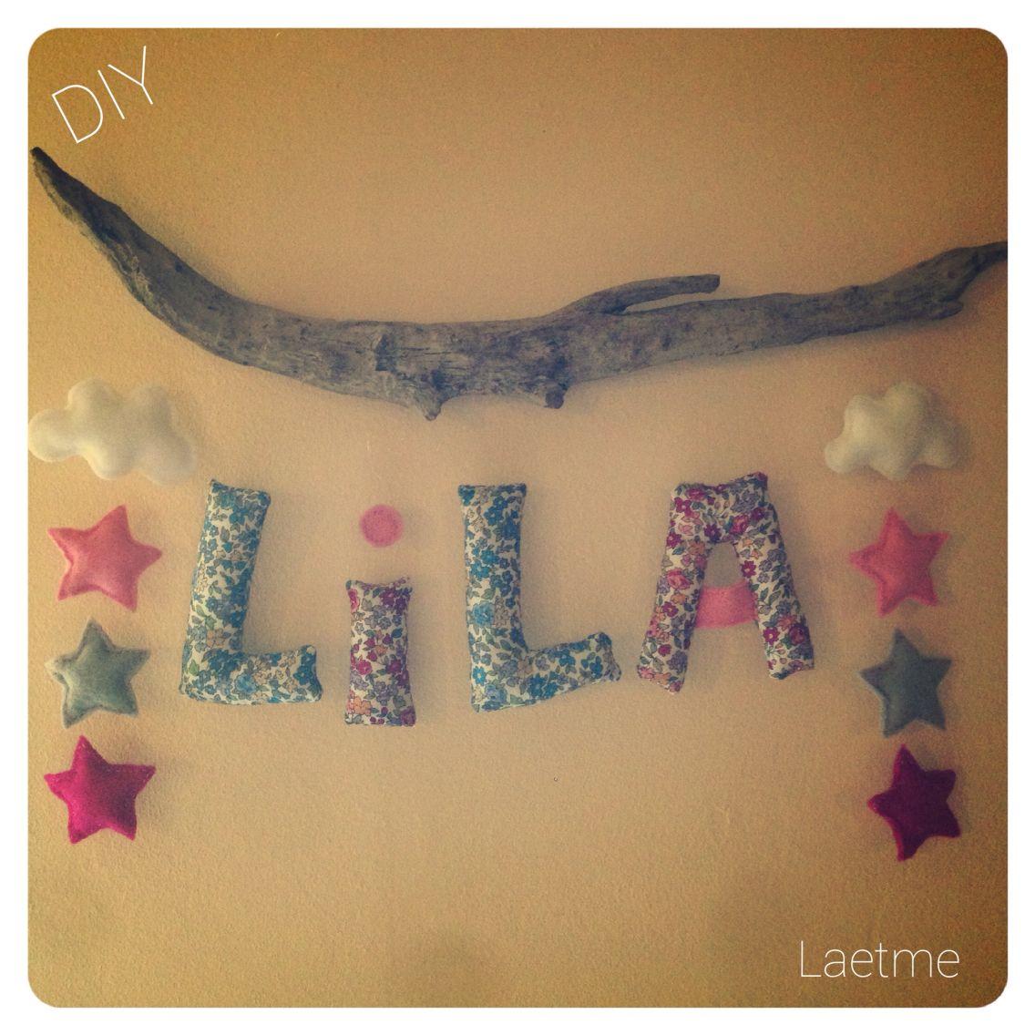 Déco prénom pour chambre d\'enfant, couture et bois flotté! #DIY ...