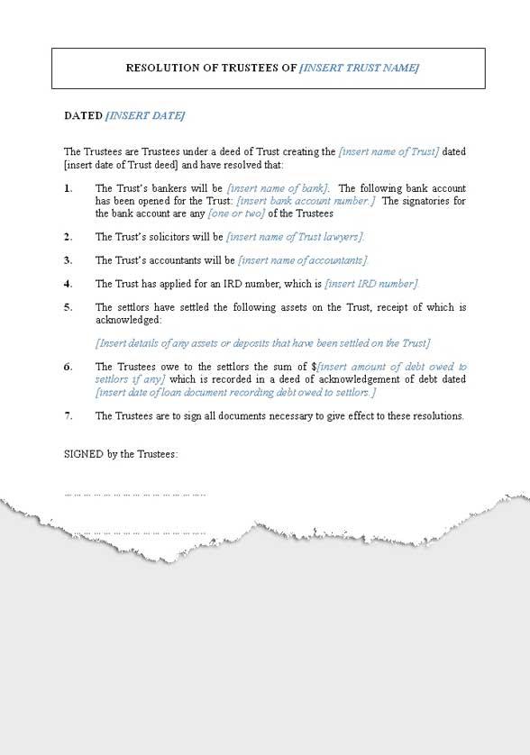 Trust Resolution Template Nz Google Search Trust Balance Sheet Template Statement Template