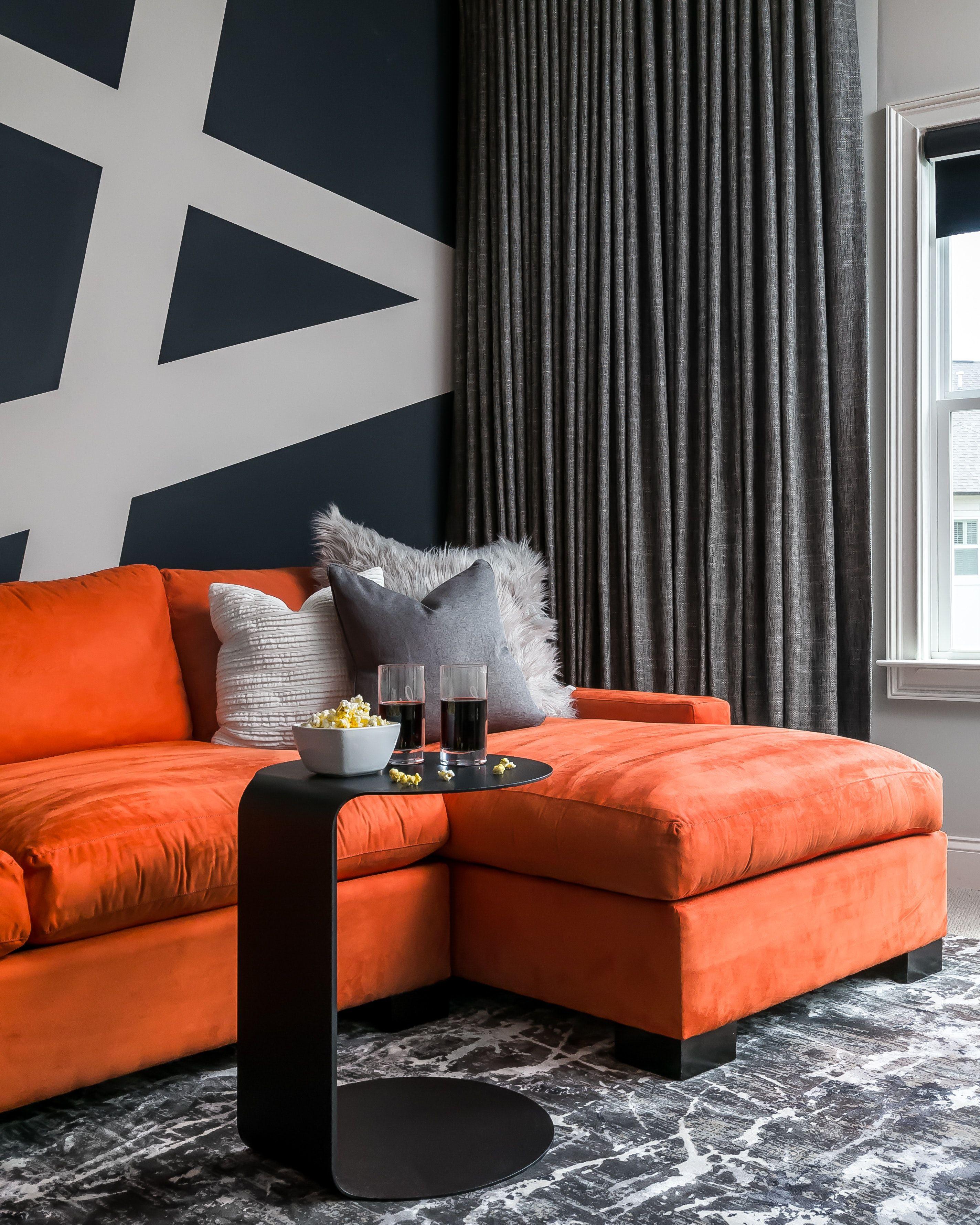 Media Room With Graphic Wall And Colorful Sofa Atlanta Ga Orange Sofa Sofa Colors Vintage Style Sofas