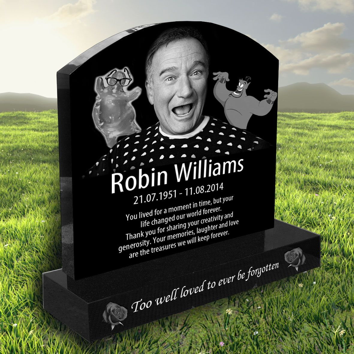 Robin Williams laser etched black granite headstone ...