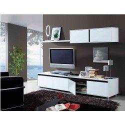 Mueble de sal n tv blanco brillo aura armarios y muebles - Comment cacher les fils de la tv accrochee au mur ...