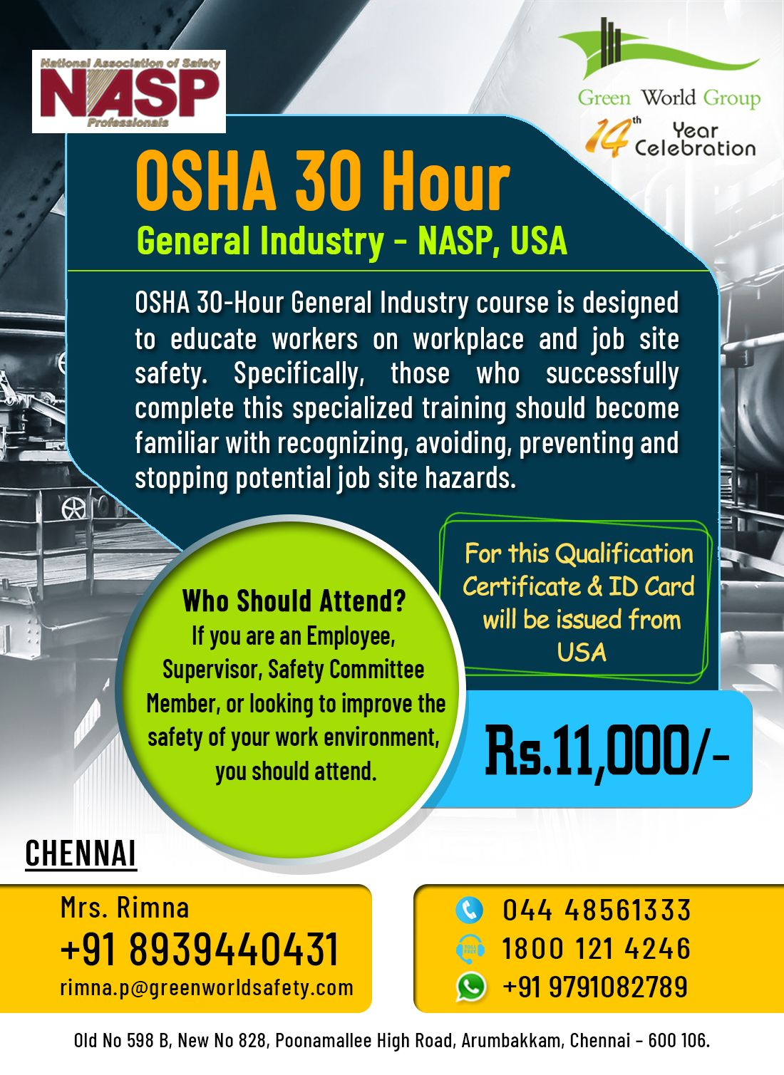 Join OSHA 30 Hour General Industry Course in Chennai in