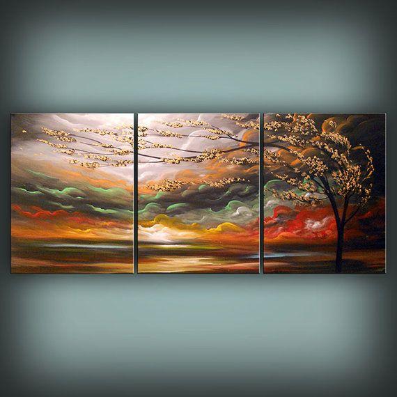 Wall Art Artwork Best Selling Art Nouveau Large Painting Large Etsy Large Canvas Painting Three Canvas Painting Painting