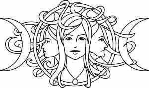 Triple Moon Goddess Coloring Page Book Of Shadows Witchy Crafts Wiccan Crafts