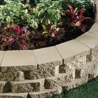 Pavestone 2 In X 12 In X 8 In Buff Concrete Wall Cap 81404 The Home Depot Brick Landscape Edging Landscaping Retaining Walls Concrete Wall
