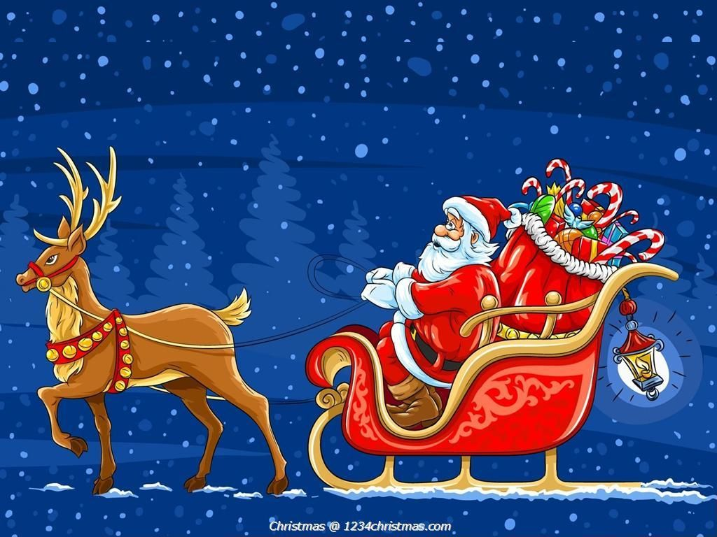 Santa Claus Reindeer Wallpaper Download Merry Christmas Images Free Christmas Images Christmas Wallpaper Hd