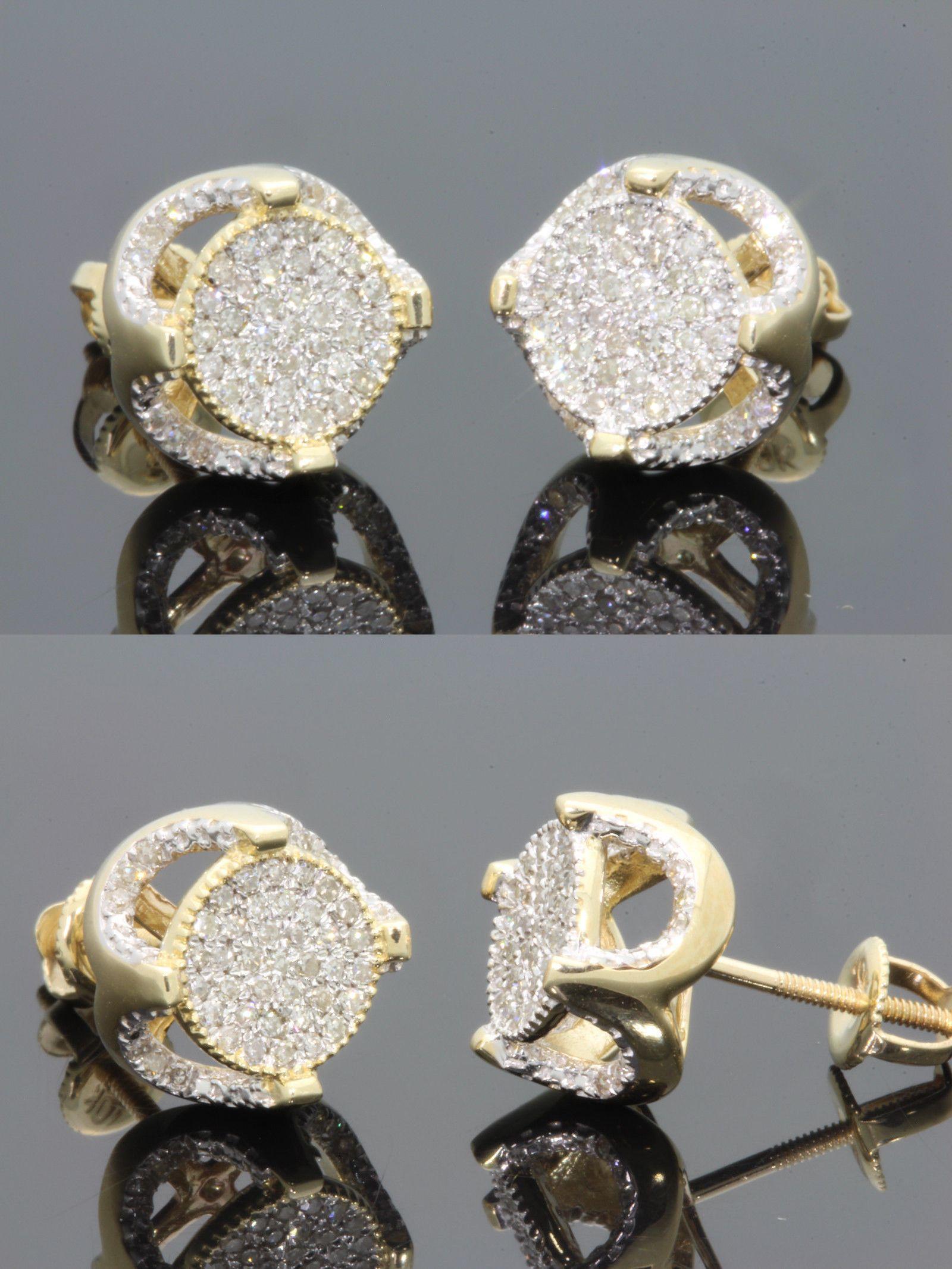 Men/'s Ladies 10K Yellow Gold Over Round Diamond 3D Circle Studs Earrings 2.00 Ct