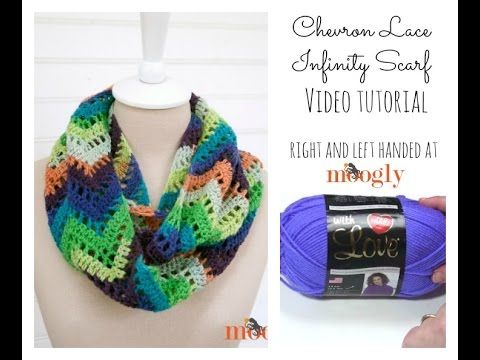 How to Crochet: Chevron Lace Infinity Scarf (Right Handed) | Crochê ...