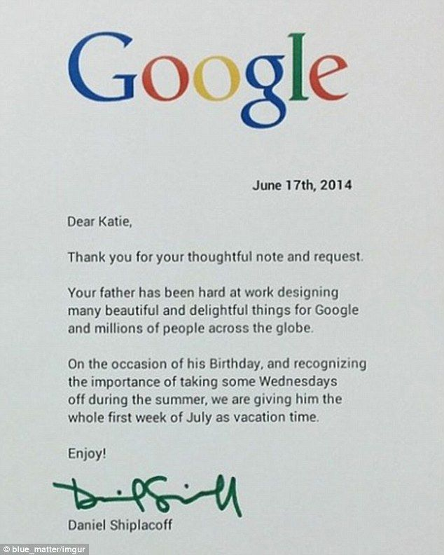 Dear google worker, can you please make sure daddy gets a day off - thank you letter sample 2