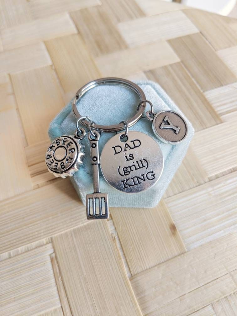 Dad keychain, personalized gifts for Dad, add initials keyring for men, Father's…