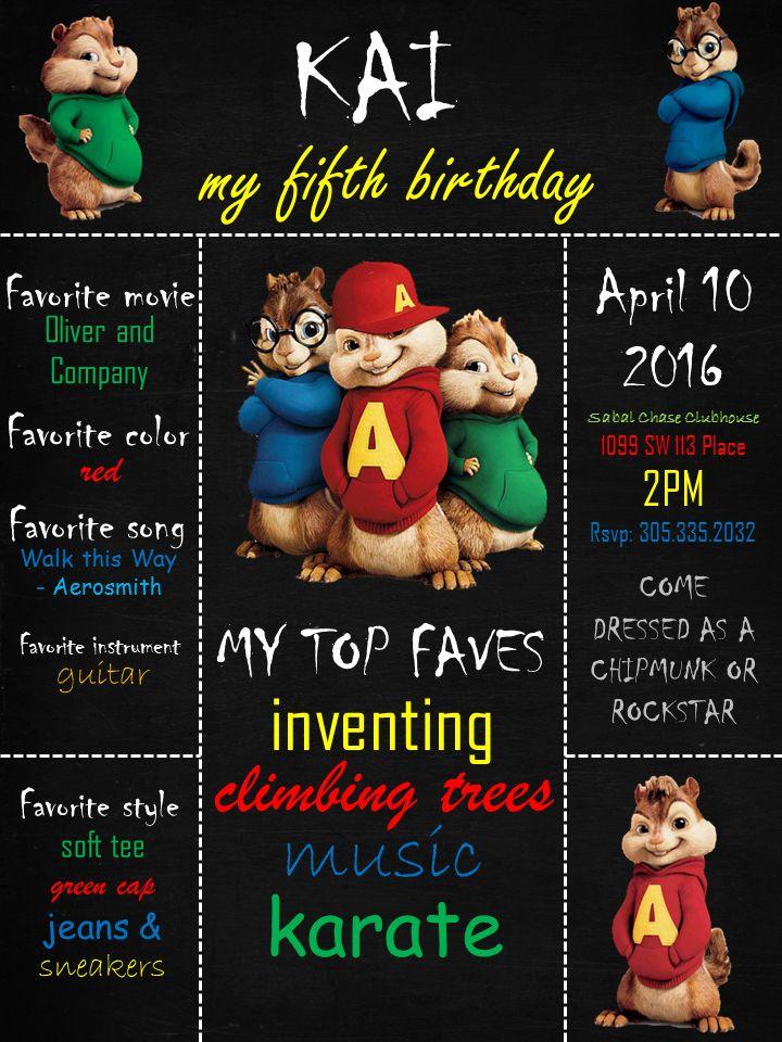 Birthday Invite Alvin And The Chipmunks Invitation Alvin And