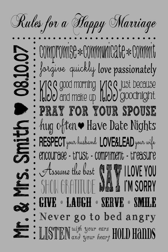 Rules for a Happy Marriage Sign PRINTABLE Custom Wedding Gift