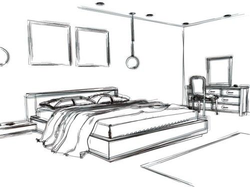 Bedroom drawing design images for Bedroom designs sketch