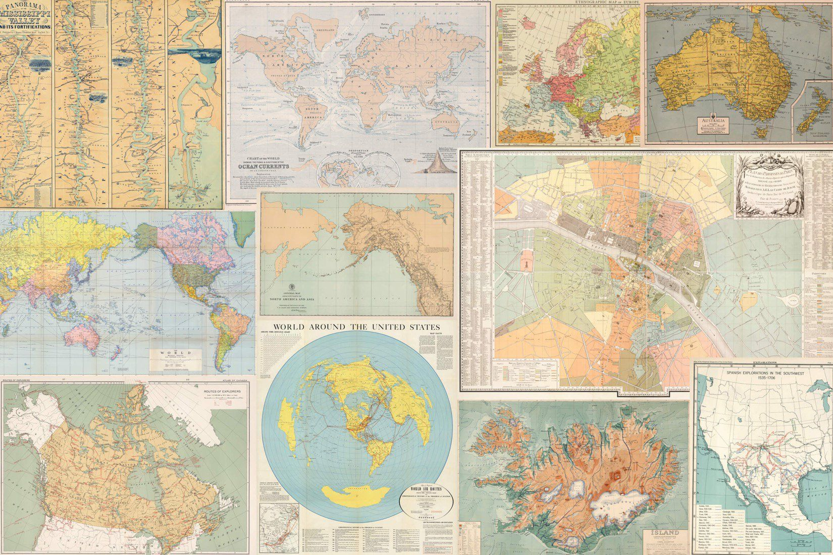 Light Vintage Map Collage Wallpaper Mural Map collage