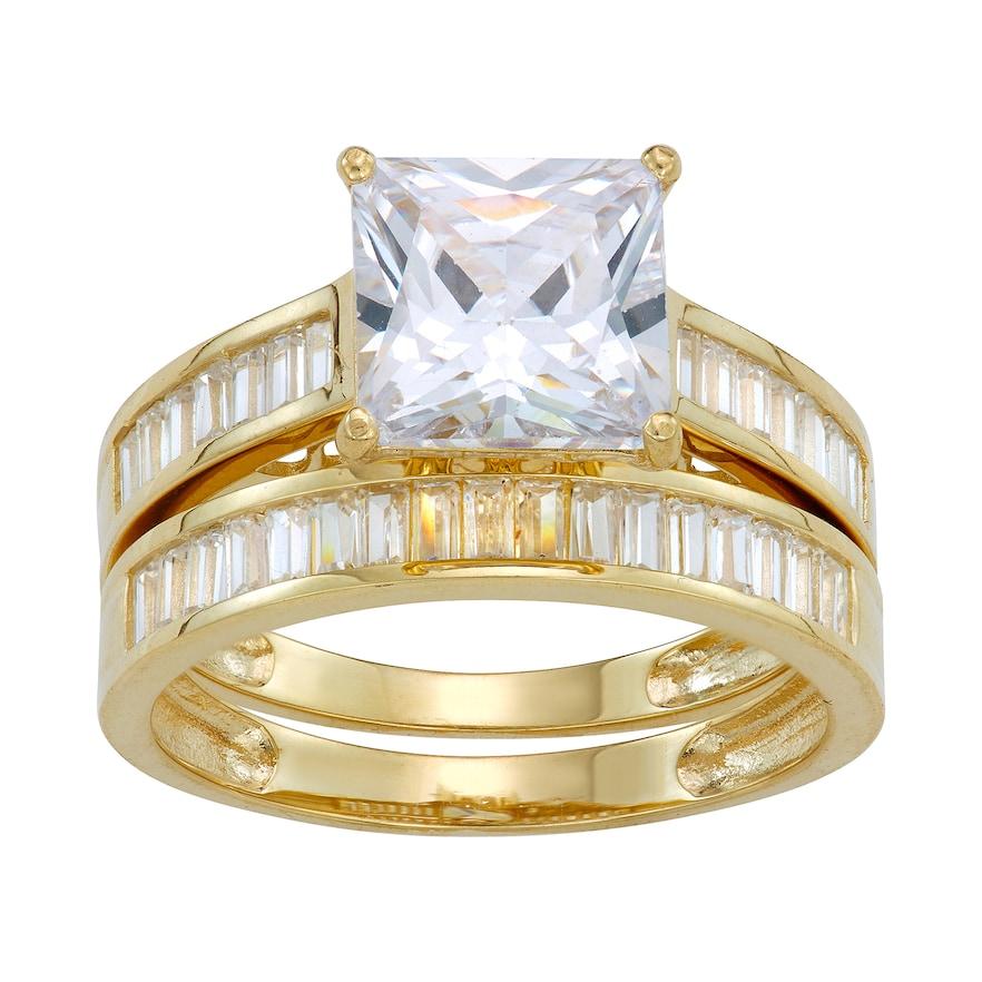 10k Gold Cubic Zirconia Baguette Bridal Ring Set Women S Size 7 White Engagement Ring Matching Wedding Band Bridal Rings Bridal Ring Set