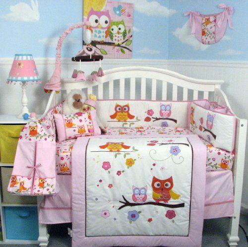 Soho Pink Dancing Owl Baby Crib Nursery Bedding Set With Diaper