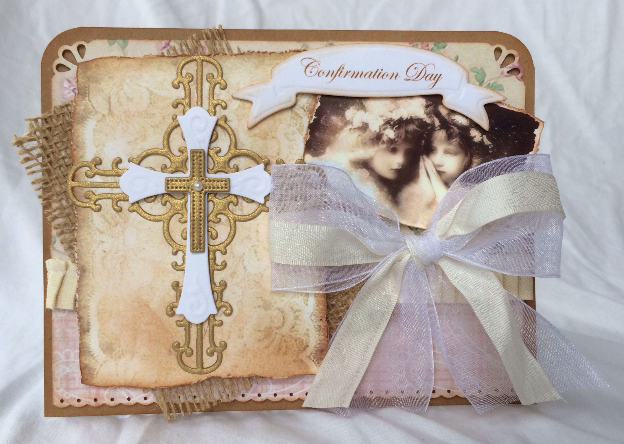 Beautiful Confirmation handmade card. Vintage look. Using Spellbinders die and Victorian angels pic. Made by Craft Me a Card.