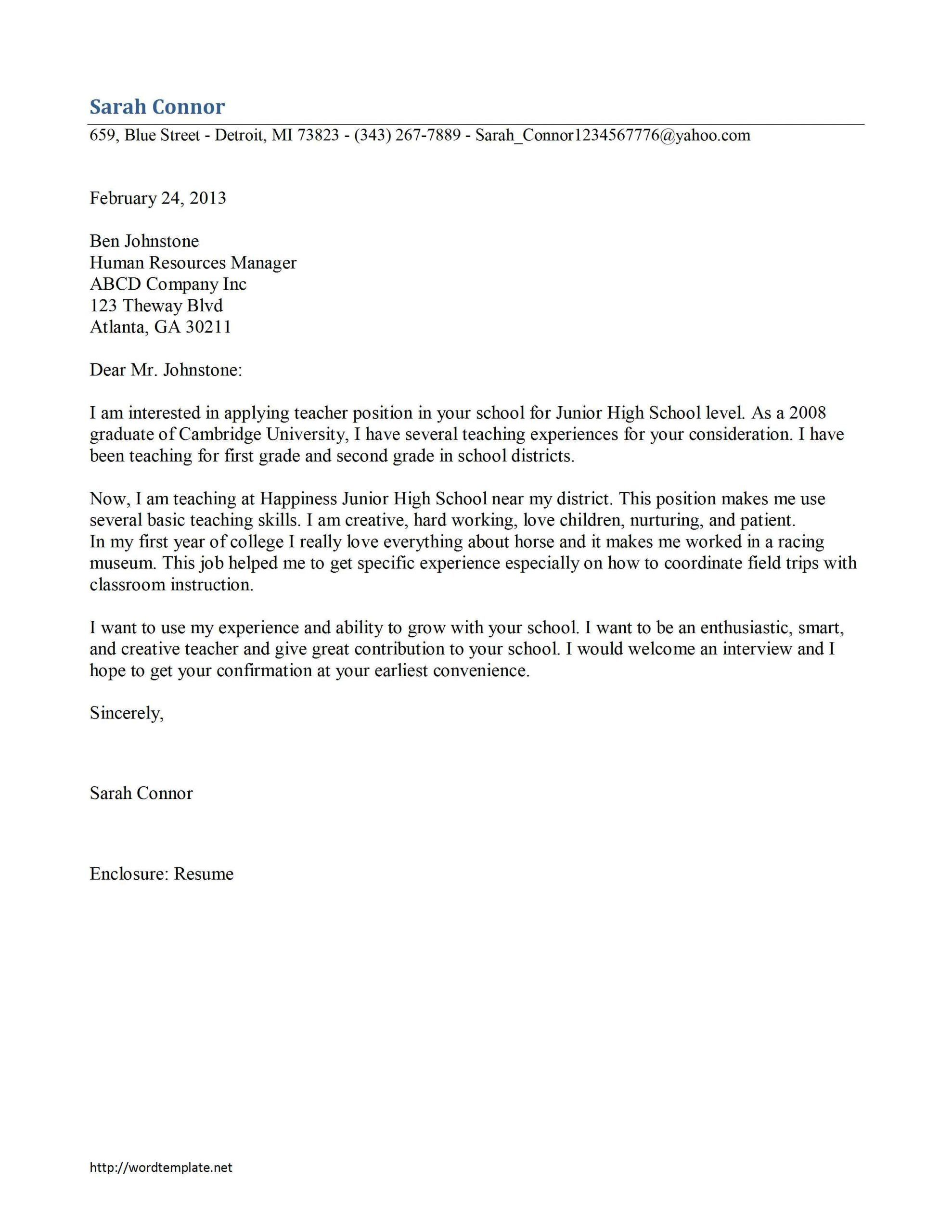 cover letter for teaching teacher cover letter template in 2020