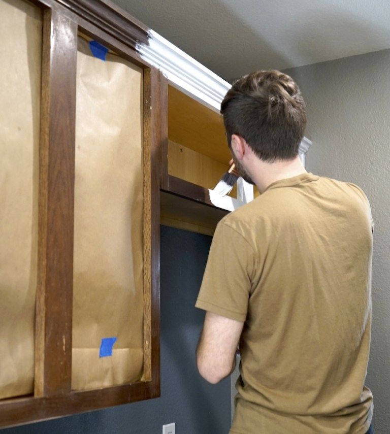 How to Paint Kitchen Cabinets White Cabinet Transformation