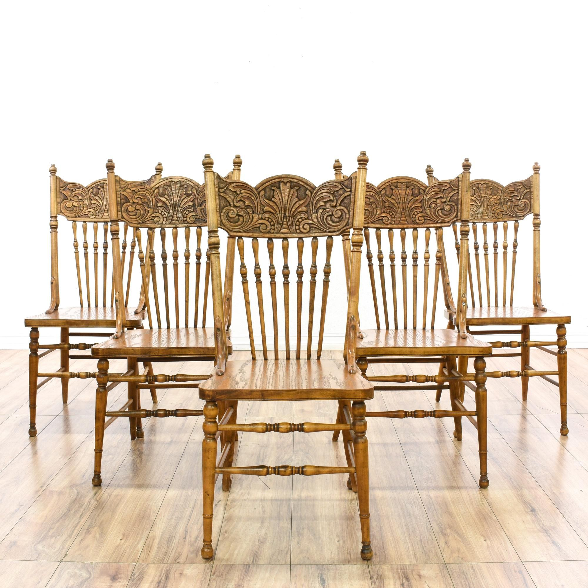 Set Of 5 Spindle Press Back Oak Dining Chairs | Oak dining chairs ...