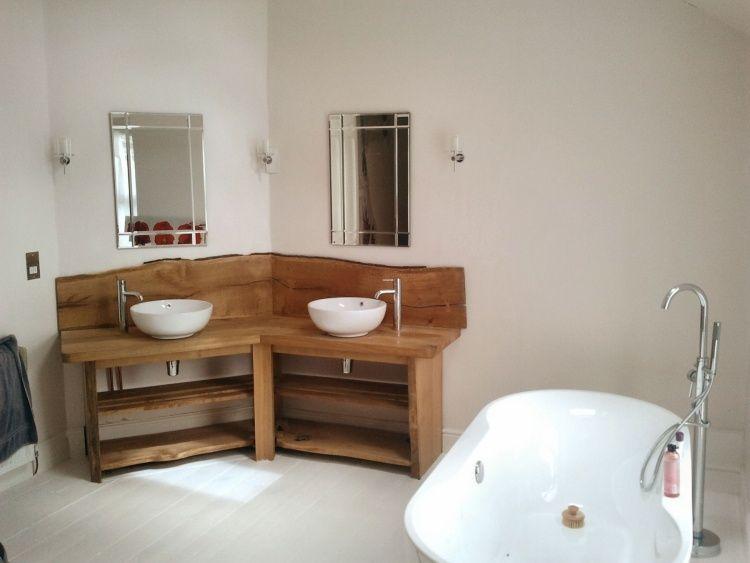 Meuble Salle De Bain Bois Brut MEUBLE à Double Vasque En Bois - Meuble de salle de bain en bois naturel
