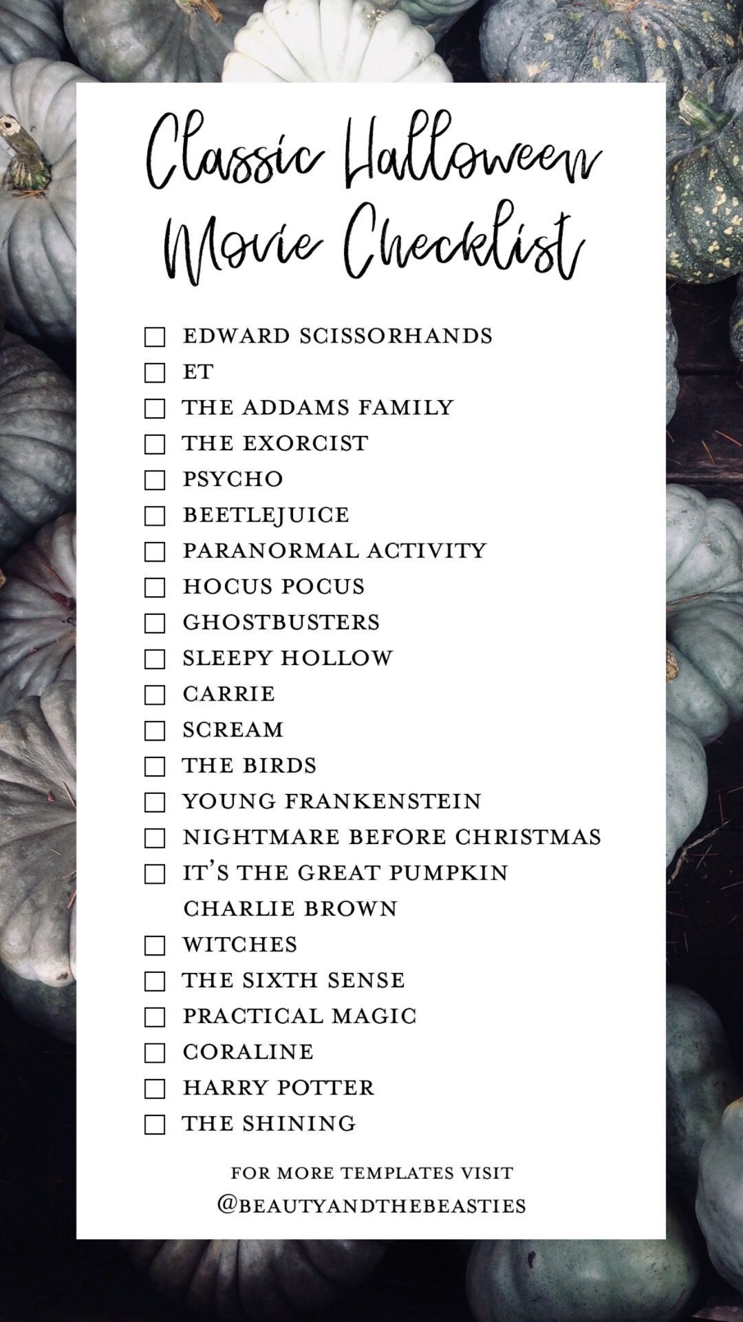 Classic Halloween Movie Checklist scarymovie halloween
