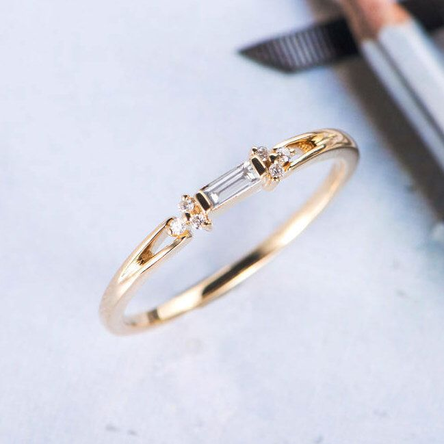 Baguette Cut Diamond Wedding Band Women Cer Ring Antique Unique Promise Dainty Yellow Gold Stacking Anniversary