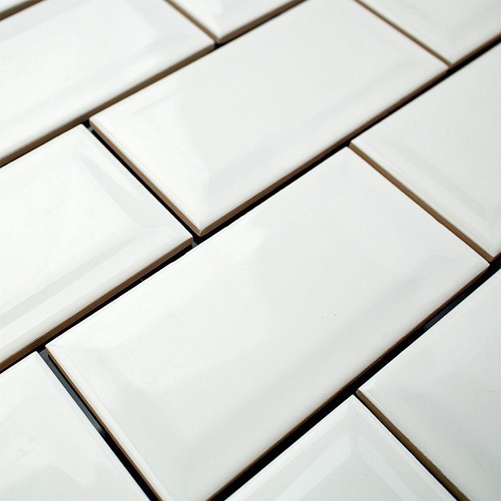 Basic white 3x6 polished beveled ceramic wall tile