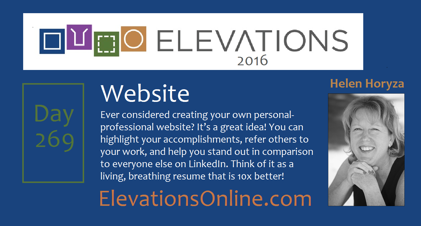 Daily Perspective 268 | Website - Ever considered creating your own personal-professional website? It's a great idea! You can highlight your accomplishments, refer others to your work, and help you stand out in comparison to everyone else on LinkedIn. Think of it as a living, breathing resume that is 10x better! #CareerTips