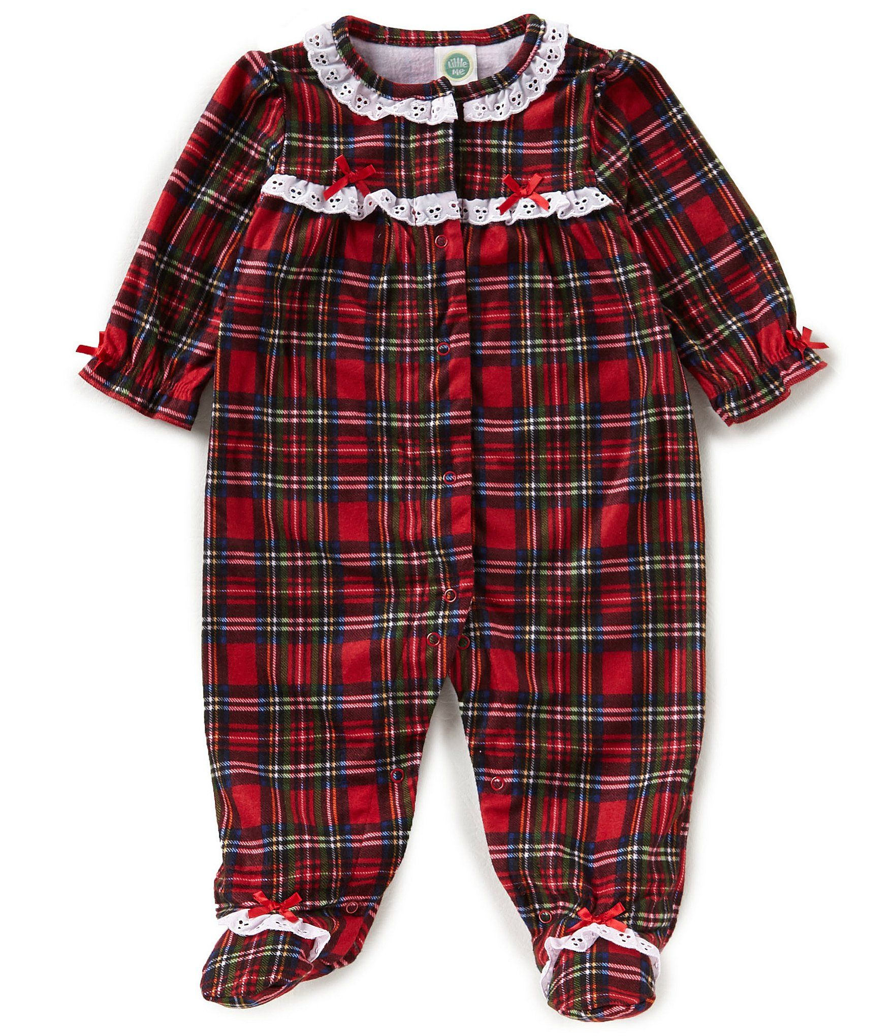 bf4e2b5900c Little Me Baby Girls 3-12 Months Christmas Plaid Footed Pajamas ...