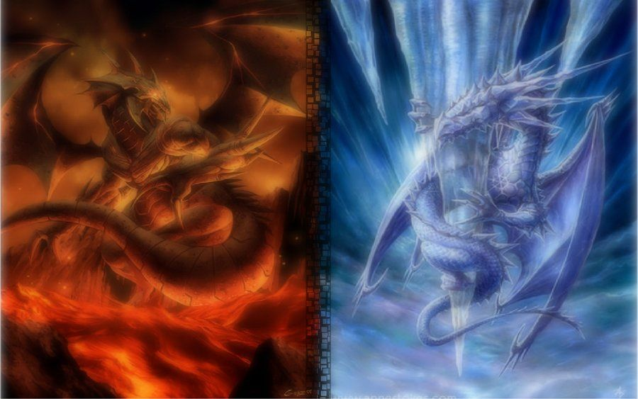 Fire Dragon Vs Ice Dragon Images Of Fire And Ice Dragon By P Ino33 On Deviantart Wallpaper Iskusstvo S Drakonami Iskusstvo Drakon