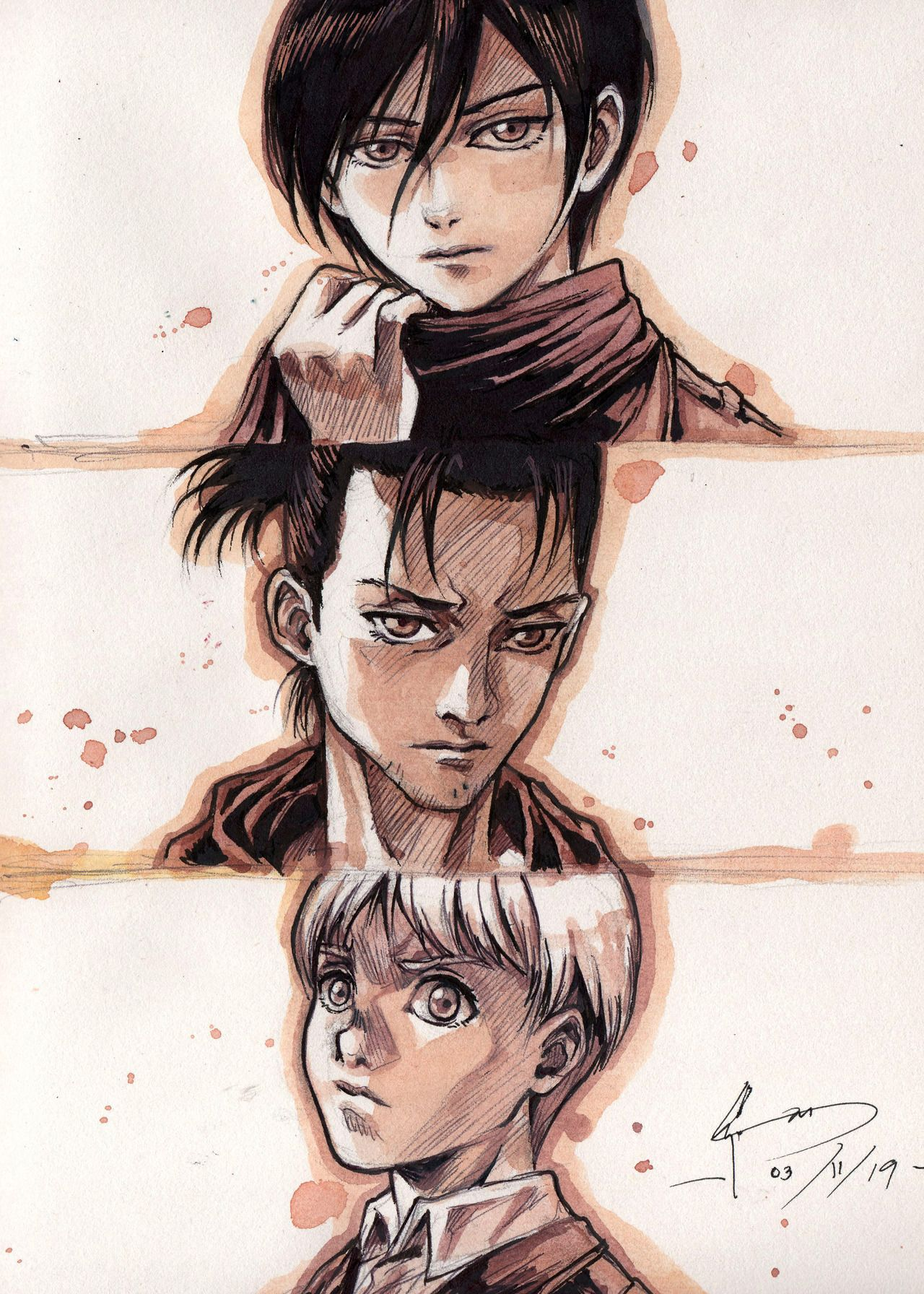 Look At How They All Grew Up Eren Went All Full Blown Samurai The Other Two Went For The Boyish Look Waterco Attack On Titan Anime Attack On Titan Art Armin