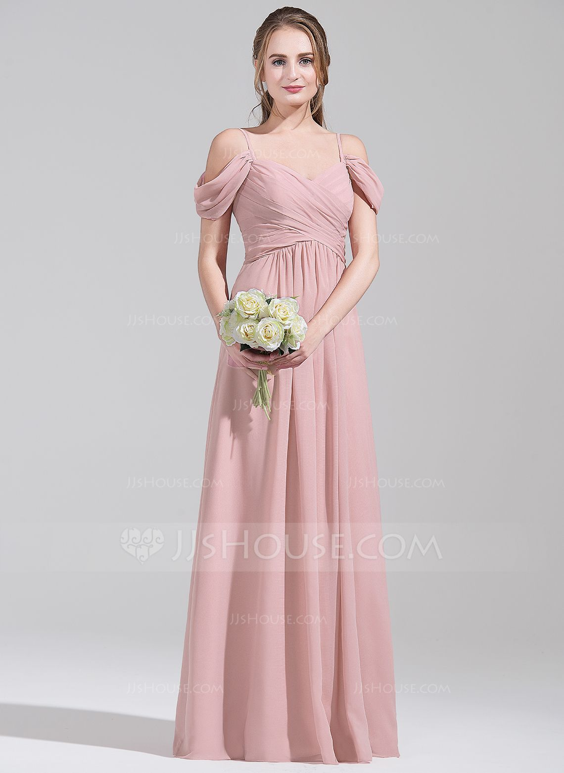 A-Line/Princess Off-the-Shoulder Floor-Length Ruffle Zipper Up ...
