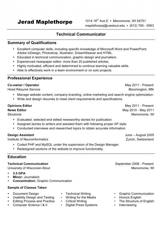 advice on resumes