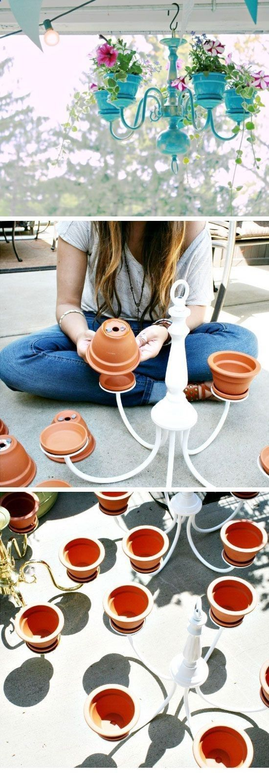 Chandelier Planter Tutorial   DIY Garden Projects Ideas Backyards   DIY Garden Decoartions Budget Backyard by ollie