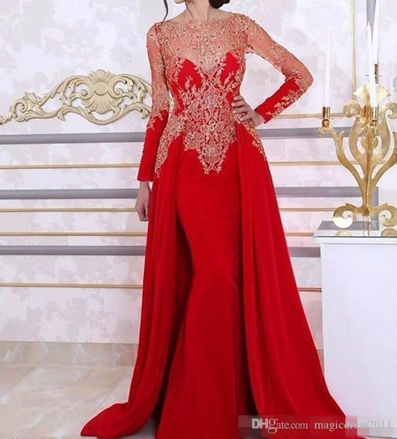 ec8747713d Long Sleeve Mermaid Evening Dresses With Detachable Skirt Lace Beading  Sequin Red Arabic Kaftan Formal Women Evening Gown Plus Size Prom Evening  Beaded ...