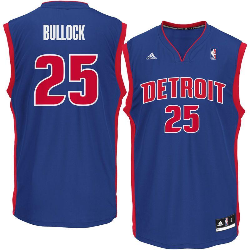 100% authentic 3cef7 4c054 Reggie Bullock Detroit Pistons adidas Replica Jersey - Royal ...