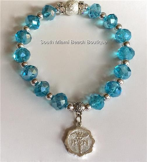 Nurses Silver RN Charm Bracelet Aqua Glass Bead Nursing Gift Caduceus Adjustable #Traditional