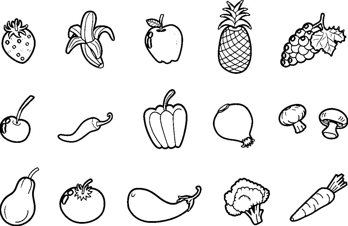 Fruits And Vegetables Coloring Worksheet