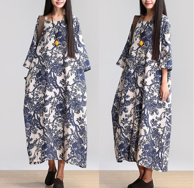 48d1ca70a8f Women Cotton Linen Loose Fitting Long Maxi Dress Short Sleeve Summer Dresses  - Buykud
