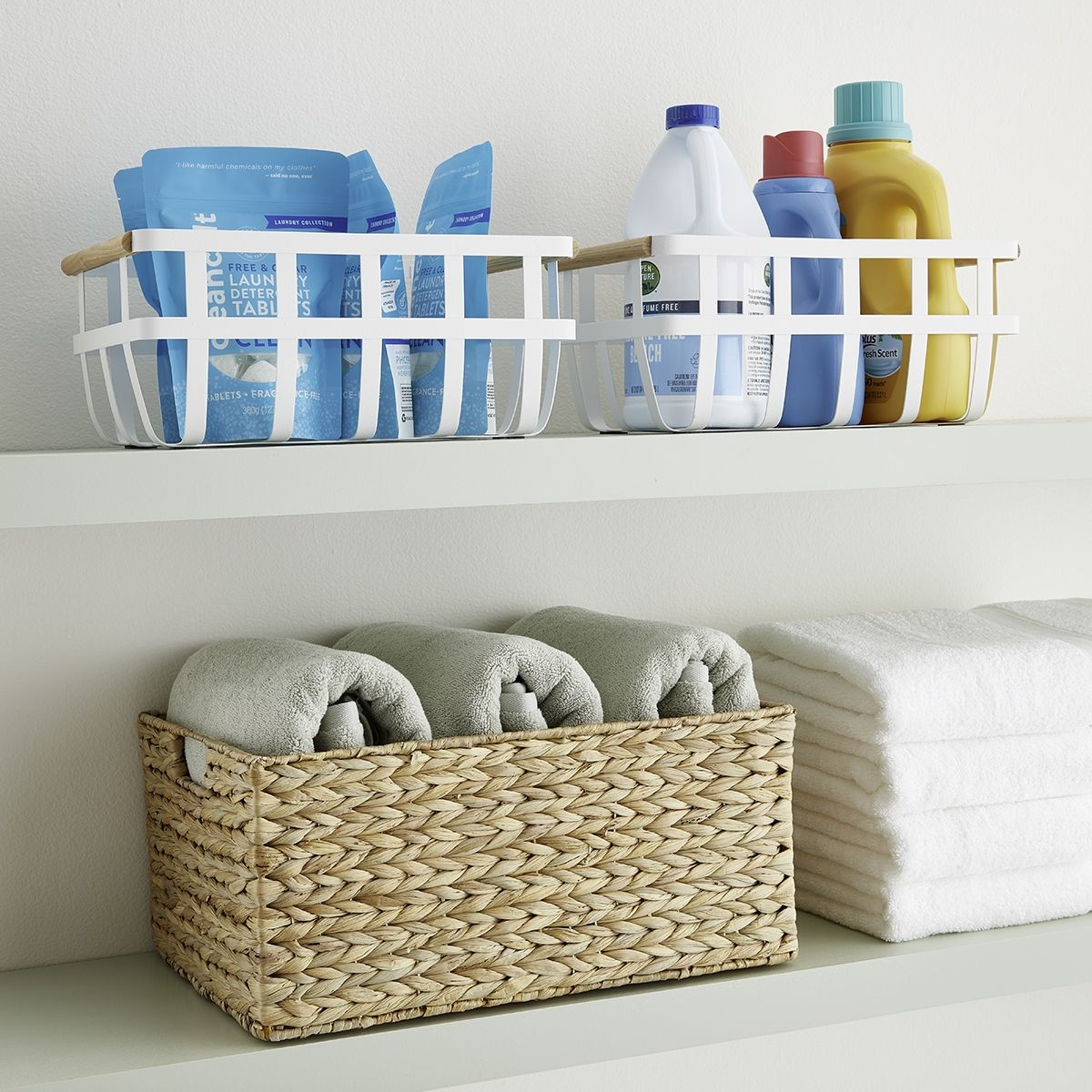 Laundry Room Storage Baskets Wooden Handles Laundry Decor