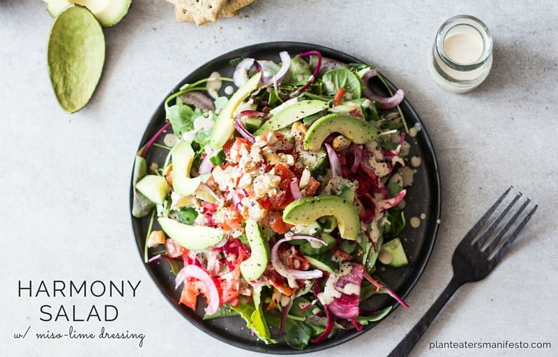 Harmony salad with misolime dressing recipe plant