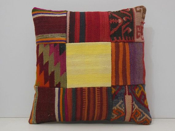 bed pillow cover 18x18 DECOLIC yellow kilim by DECOLICKILIMPILLOWS
