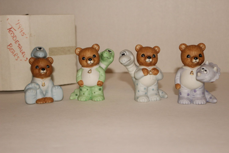Homco Teddy Bear Figurines Dinosaur Pajamas Costume Teddesaurus