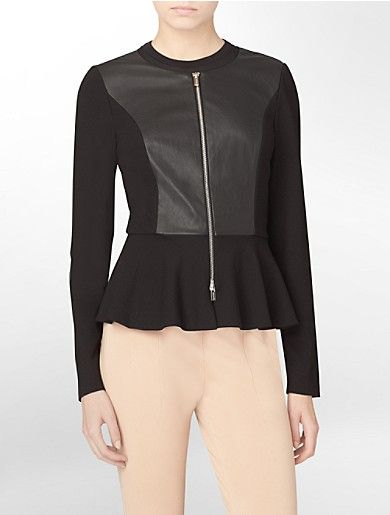 zip front faux leather accent peplum top